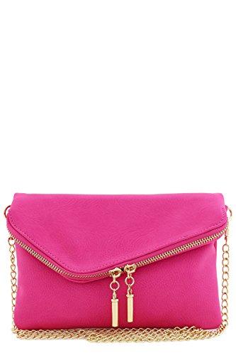 (Envelope Wristlet Clutch Crossbody Bag with Chain Strap (Fuchsia))