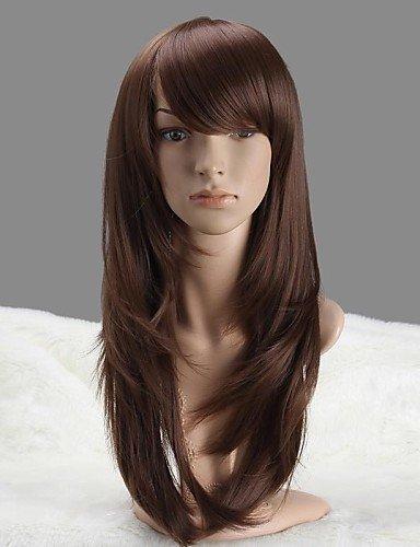 WIGSTYLE Pelucas de la manera la moda las mujeres sin tapa larga peluca sintética castaño claro castaño liso con plena explosión: Amazon.es: Belleza