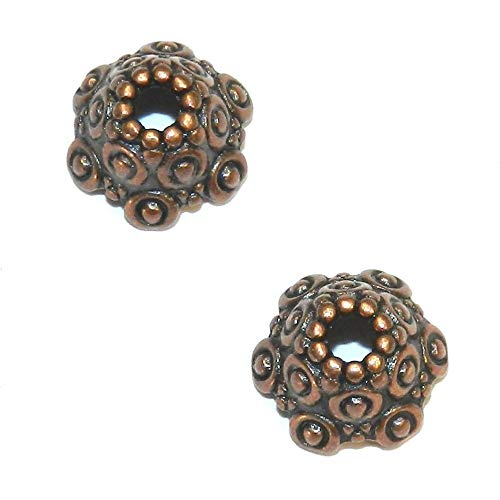 Fancy Scalloped Dotted Metal Bead Caps 25pc ()