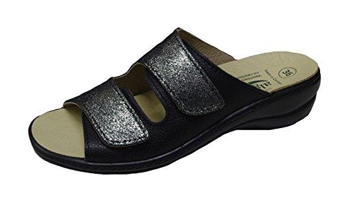 Algemare Damen Pantolette Schwarz Glitter Aus Leder Größe 36 bis 42 Wechselfußbett Schwarz