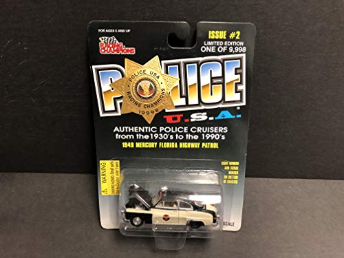 (1949 Mercury Florida Highway Patrol POLICE USA Racing Champions diecast car 1/55 scale)