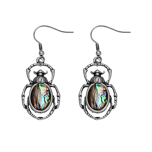 MANZHEN Antique Bronze Abalone Shell Bug Wildlife Necklace Scarab Earring Woodland Animal Jewelry Set (Antique silver earrings)