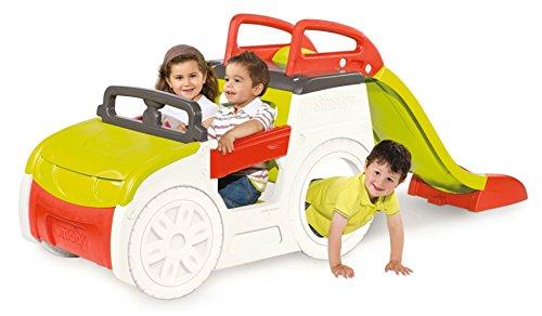 Smoby Abenteuer Spielauto mit Sandkasten Rutsche Spiel Auto Lenkrad Hupe