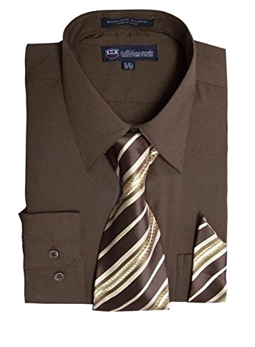 Milano Moda Men's Long Sleeve Dress  With  Tie And Handkie SG21A-Brown-20-20 1/2-36-37