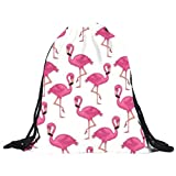 TLOOWY Drawstring Backpack, Flamingo Lightweight String Sport Gym Bag Daypack Cinch Sack Pack for Women Girls (A)