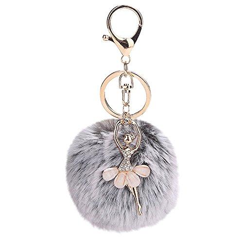 (❤Ywoow❤❤ , 8CM Cute Dancing Angel Keychain Pendant Women Key Ring Holder Pompoms Key Chains)