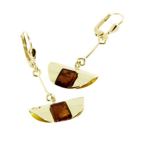 In Collections - 0010163311L100 - Boucles d'Oreilles Pendantes Femme - Or jaune 333/1000 (8 cts) - ambre