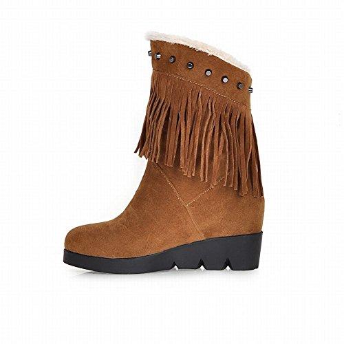 heel Short Boots Nubuck Wedge Mid Brown Studded Tassel Platform Fashion Latasa Winter Snow Womens 7wq8zYp
