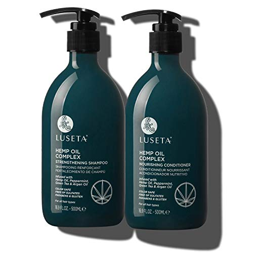 Luseta Hemp Oil Complex Shampoo & Conditioner Set, Argan Oil, Hair Loss/Repair, Thickens & Enriches Thinning Hair for Men & Women Parabans & Sulphate Free for All Hair Types 2 x 16.9oz