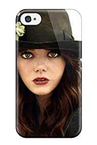 Hot Design Premium HWbHTEc7114GyNvK Tpu Case Cover Iphone 4/4s Protection Case(emma Stone Black Hat Redhead Actresss People Women) wangjiang maoyi