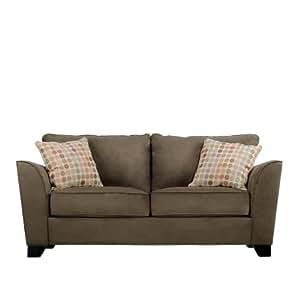 Handy Living GEN1-S9-AAA68 Geneva Transitional Flared Arm Microfiber Sofa, Dark Moss With 2 Decorative Beige Retro Dot Throw Pillows