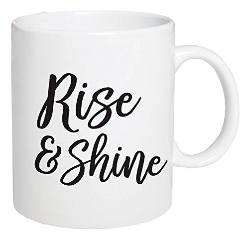 (P. GRAHAM DUNN Rise & Shine Script White 5.5 x 4.5 Ceramic 15 Ounce Coffee Mug )