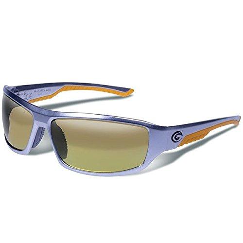 e Eyewear Prevail Polarized Safety Glasses, Matte Silver Frame/Brown with Orange Mirror Lenses ()