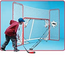Ezgoal Hockey Backstop - Perfect for Rebound Shot Practice , Folds Back for Games or Flat Storage , Heavy Duty Steel Frame with Premium Quality Netting