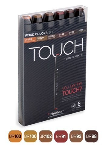 Shin Han : Touch Twin 6 Marker Pen Set : Wood Colors
