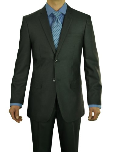 Marzzotti Gianni 2 Button Sharkskin Modern Fit Men's Suit Shiny 48L Charcoal