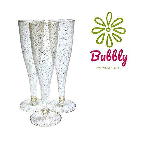 55 Pack Plastic Champagne Flutes Disposable with Gold Glitter | 5 oz Bulk Disposable Wine Glasses | Reusable Party Cups Perfect For Wedding showers, Bridal Showers & Baby Showers
