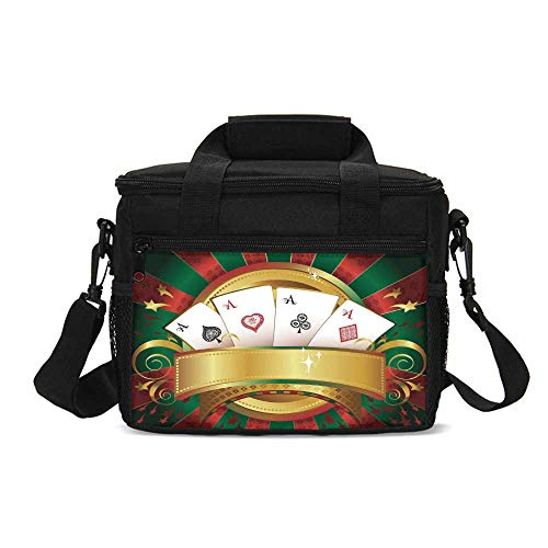 Poker Tournament Durable Lunch Bag,Gambling Fortune Wealth Playing Cards Hand Casino Roulette Winning Print Decorative for Picnic Travel,9.4