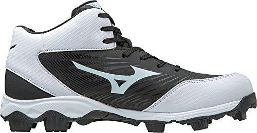 Mizuno (MIZD9 Boys' 9-Spike Advanced Franchise 9 Molded Youth Baseball Cleat-Mid Shoe, Black/White, 3 US Big Kid (Best Molded Baseball Cleats 2019)