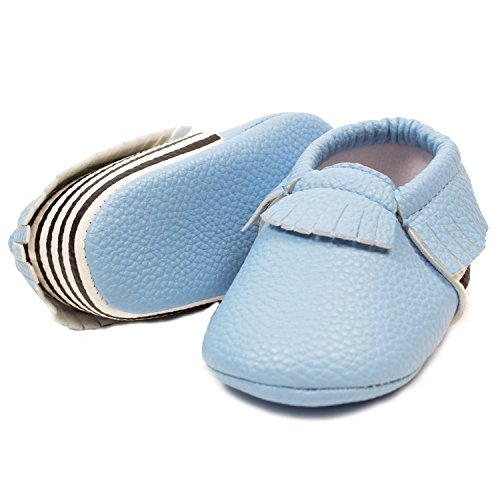 Frills Infant Toddlers Baby Boys and Girls Soft Soled Fringe Crib Shoes PU Moccasins - Striped Blue (for Ages 6-12 months/12 cm Length) by Frills Du Jour (Image #2)