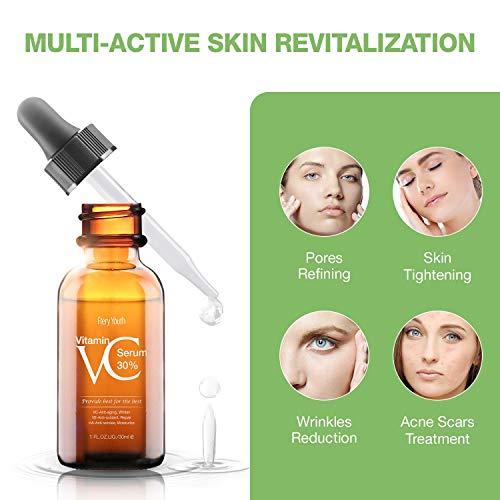 412fWKCOBGL - 30% Vitamin C Serum for Face,Hyaluronic Acid & Vitamin E - Natural & Organic Anti Wrinkle Whitening Vitamin C Serum for All Skin - Anti Aging Serum-1 fl oz.