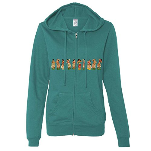 Hula Girl Wrap Ladies Zip-Up Hoodie - Teal Small (Buy Leis In Bulk)