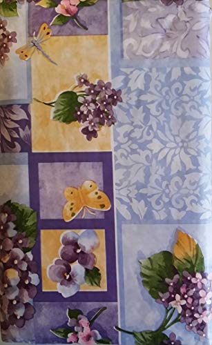 Butterflies and Dragonflies Among Lilacs/Flowers Patchwork Vinyl Flannel Backed Tablecloth (52