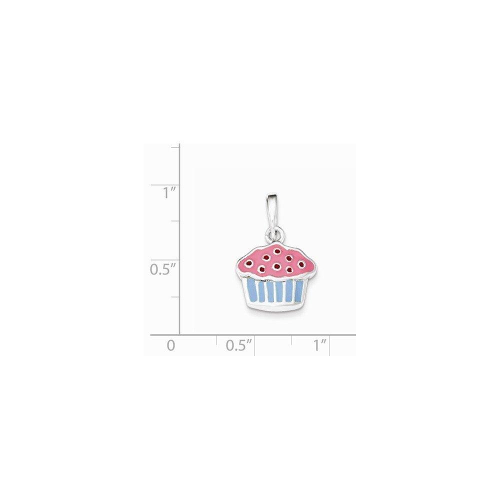 Diamond2Deal 925 Sterling Silver Polished Enamel Cupcake Child Pendant