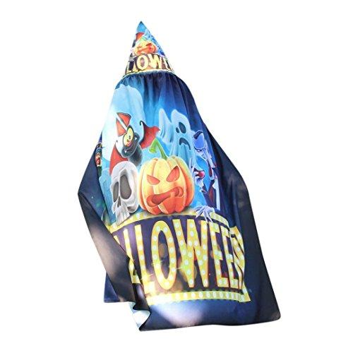 2017 Womens Halloween Pumpkin Print Cape Shawl Robe Cloak Coat Poncho Shawl Wrap Costume Accessory (Free Size, - And Gold Movie Blue Navy