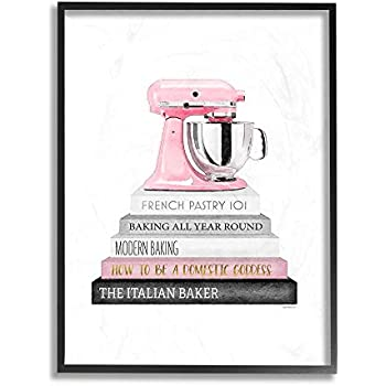 The Stupell Home Decor Grey Black Fashion Bookstack with Pink Mixer Framed Giclee Texturized Art, 24 x 30, Multi-Color