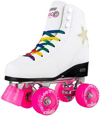 Crazy Skates Disco Roller Skates – Quad Skates with LED Light Up Flashing Stars and Rainbow Laces