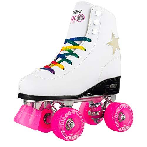 (Crazy Skates Disco Roller Skates - Quad Skates with LED Light Up Flashing Stars and Rainbow Laces (White/Size 9.5))