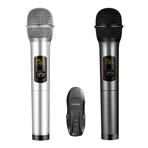 Wireless Karaoke Microphone, U-Kiss Handheld Microphone (2 pcs) with Portable Receiver for Apple iPhone Android Smartphone Ipad or - Gmail Service Customer Contact