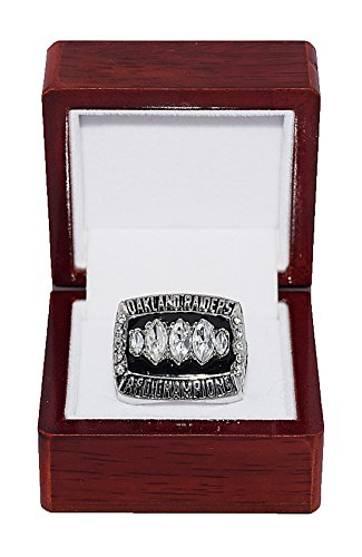 OAKLAND RAIDERS (Rich Gannon) 2002 AFC CHAMPIONS (Super Bowl XXXVII) Vintage Rare & Collectible High-Quality Replica NFL Football Silver Championship Ring with Cherrywood Display Box ()