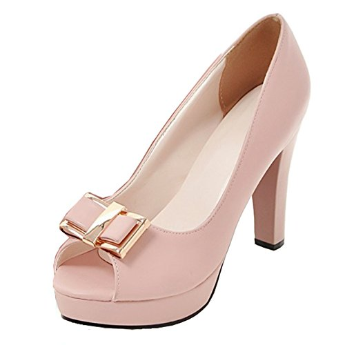 Aisun Womens Professional Low Cut Peep Toe Dress Chunky High Heels Platform Pumps Shoes With Bows Pink