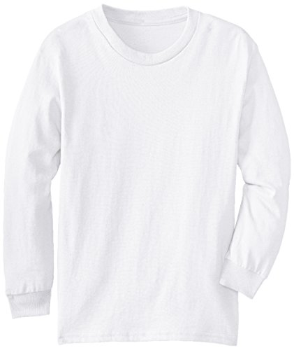 Boys Long Sleeve Crewneck T-shirt (MJ Soffe Big Boys' Youth Pro Weight Long-Sleeve T-Shirt, White, Small)