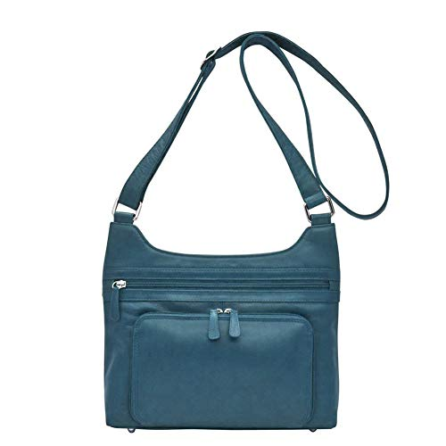 ili New York 6919 Leather Organizer Hobo (Jeans Blue)