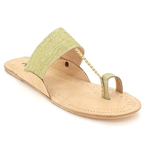 On Size Shoes Kolhapuri Leather Ladies Comfort Toe Chappal Flat Women Glittery LONDON Gold Open Slip Casual Sandals Authentic AARZ THXO1O