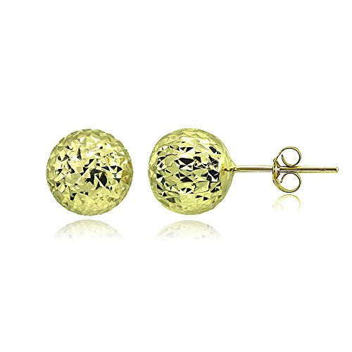 Yellow Gold Flashed Sterling Silver Polished 10mm Diamond-Cut Ball Bead Stud Earrings by Hoops & Loops