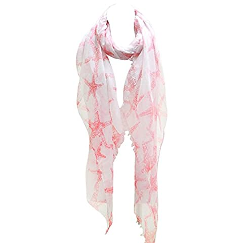Rosemarie Collections Women's Starfish Print Lightweight Fashion Scarf (Coral) - Neiman Marcus Suits