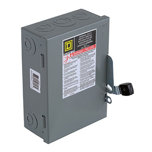 Square D by Schneider Electric D221NCP 30-Amp 240-Volt Two-Pole Indoor General Duty Fusible Safety Switch with Neutral by Square D by Schneider Electric