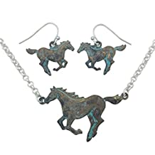 Running Horse Western Theme Necklace & Earring Set