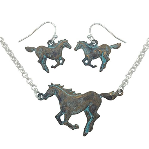 Running Horse Western Theme Necklace & Earring Set (Patina & Matte Silver (Western Prom Themes)