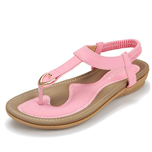 Pink Thongs Sandals Shoes - Harence Women's Casual Summer Shoes Ankle T-Strap Thong Flat Sandals (7.5, Pink)
