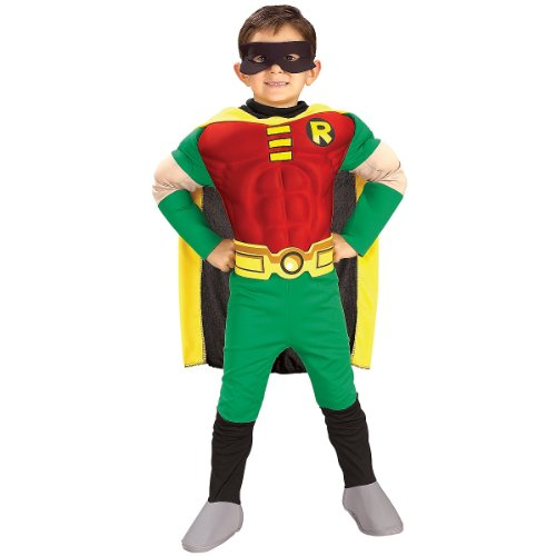 Rubies DC Comics Teen Titans Deluxe Muscle Chest Robin Costume, Small (Duo Halloween Costumes For Kids)