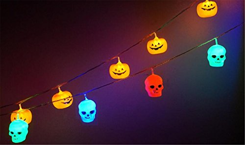 GZQ 16 Bulbs Halloween Skull LED String Light Lamp Set Party Decoration Bulb masquerade Terror LED Night (Thriller Costume Uk)