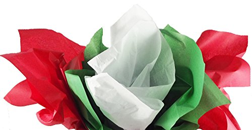 Red, Green & White Christmas Tissue Paper (Solid Colors) 120 Sheets Total