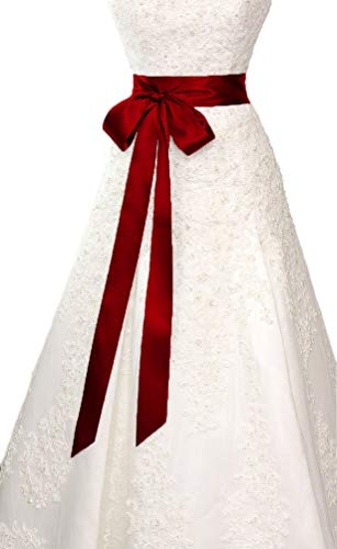 Wedding Sash Bridal Belts Simple Classic Silk Ribbon Sash for Dress (Wine Red) (Belt Wine)