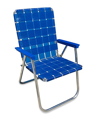 Lawn Chair USA Aluminum Webbed Chair (Deluxe, Blue Wave with Blue Arms)