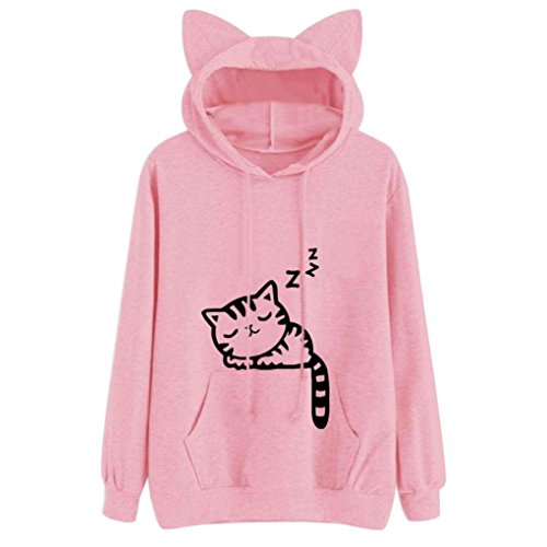 Qisc Women's Cute Cat Ear Big Pocket Hoody Sweatshirt, Cartoon Anime Kangaroo Pouch Carriers Hoodie Pullover (XL, Pink 1)